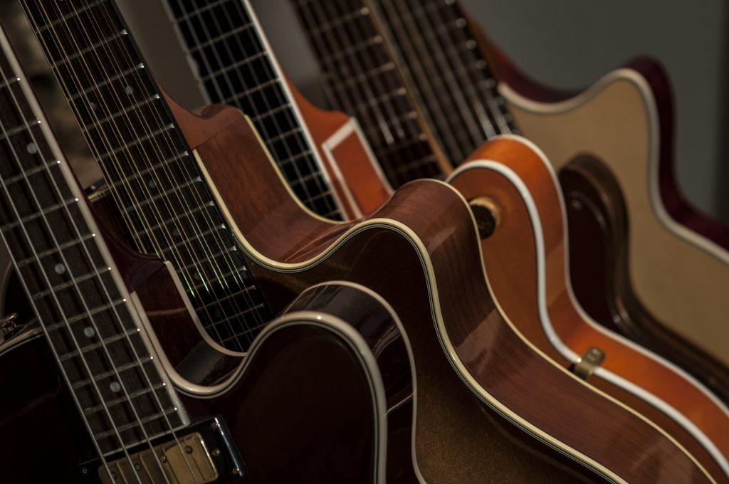 a selection of guitars