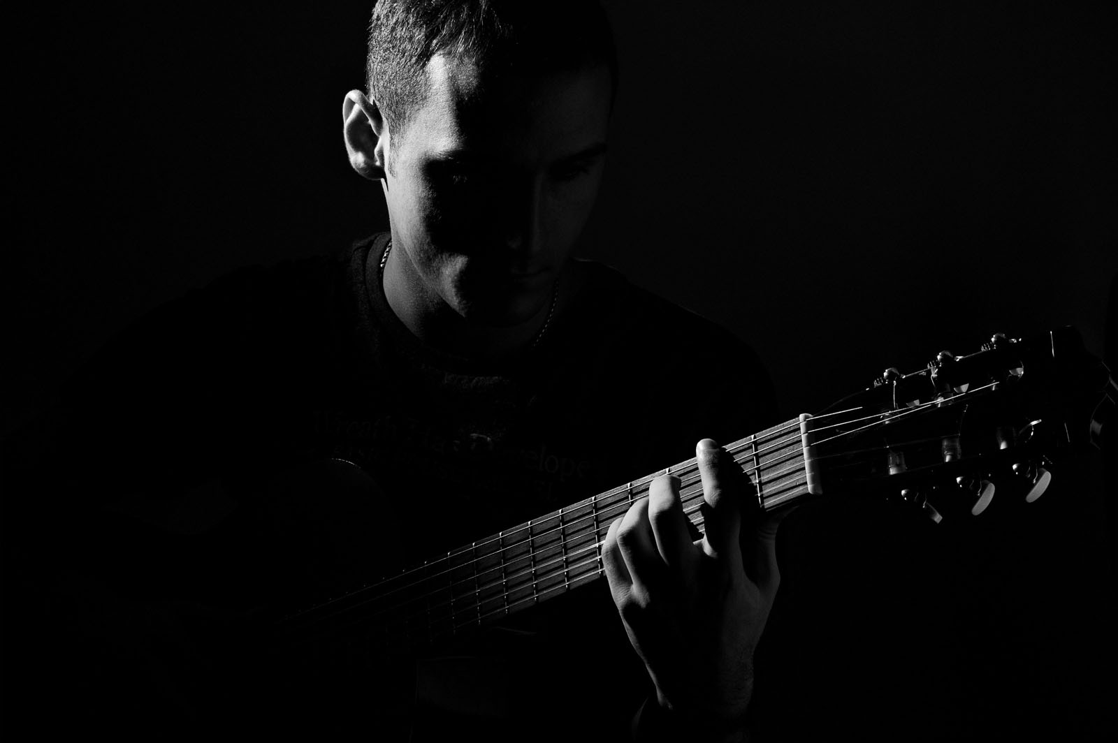 black a white guitar player