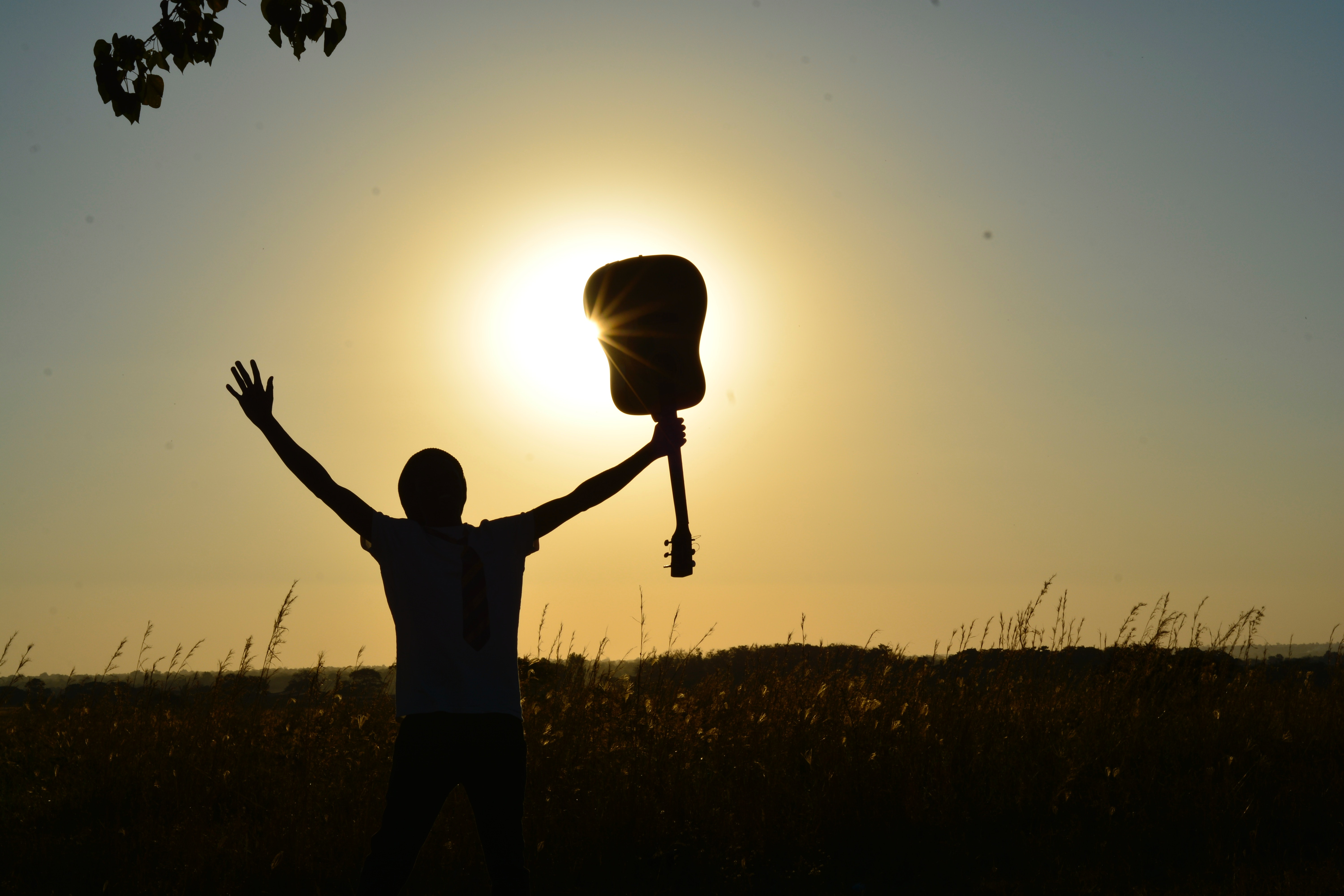 holding a guitar over the light of the sun