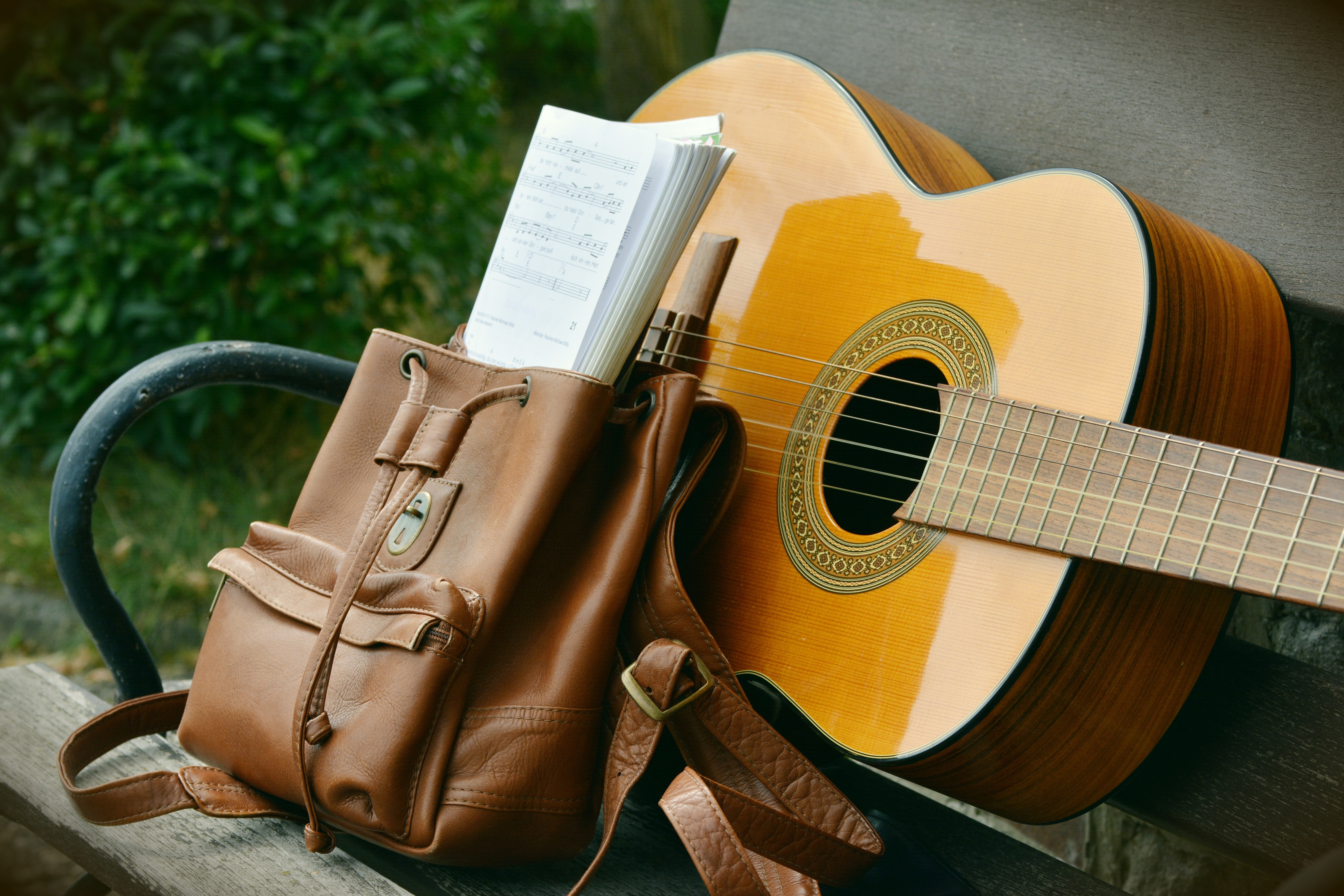 guitar and satchel